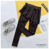 Catworld 素面斜襬裙假兩件運動褲【13500137】‧S/M/L/XL