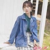 牛仔外套 2021新款秋冬藍色牛仔外套女寬鬆學生工裝潮流復古夾克衫 小天使