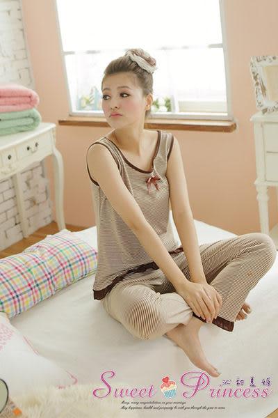 居家睡衣褲組 長袖棉質 背心+開釦式上衣 坐月子方便哺乳 橫條紋印花 沁甜美姬 寬肩三件式(咖)