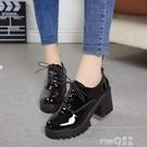 2020春季新款英倫風少女小皮鞋女士鞋子中跟粗高跟鞋增高學生單鞋  (pink Q時尚女裝)