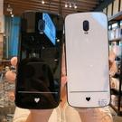oppo reno手機殼玻璃保護套簡約愛心手機殼外殼【極簡生活】