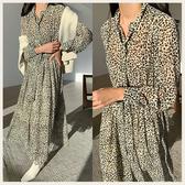 。Styleon。正韓。成熟豹紋收腰長袖雪紡洋裝。韓國連線。韓國空運。0115。