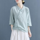 盤扣上衣 2021夏裝棉麻襯衫V領短袖t...