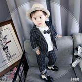 男童禮服 男童1-3歲潮韓版0英倫風小西服寶寶周歲禮服三件套TA475『男神港灣』