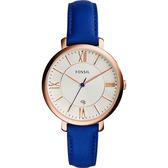 FOSSIL Jacqueline 羅馬佳人時尚女錶-玫瑰金框x藍/36mm ES3795