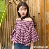 夏裝新款韓版甜美荷葉邊一字領露肩喇叭袖上衣短款格子襯衫女襯衣  居家物語