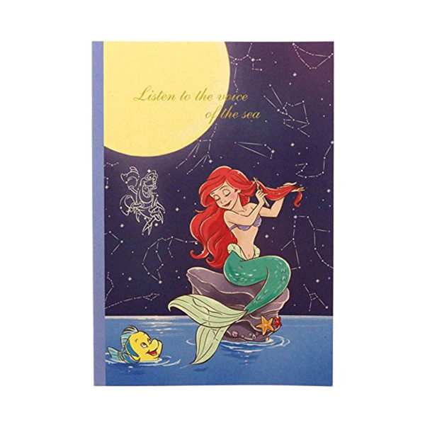 DISNEY迪士尼公主靜謐夜空系列B5膠裝方格筆記本(小美人魚)★funbox★sun-star_UA54223