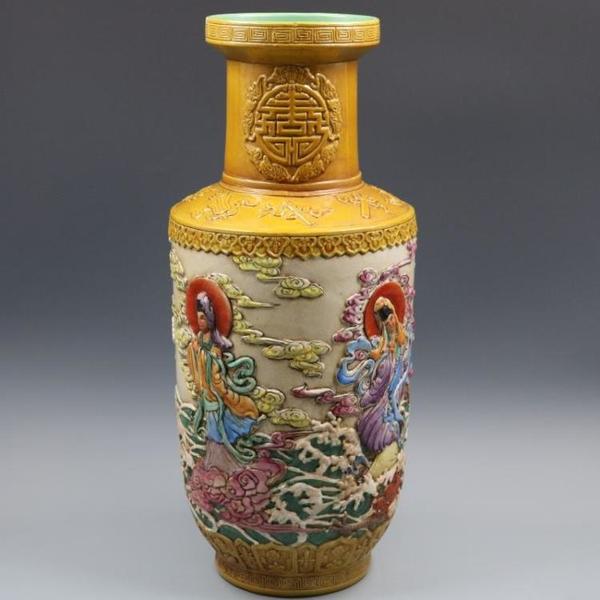 清乾隆浮雕刻粉彩人物棒槌瓶手繪仿古老貨瓷器家居擺件古董古玩1入