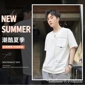 夏天成熟男裝圓領短袖T恤男士深色短衫303540歲短軸上衣服 阿卡娜