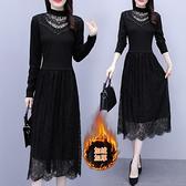 大碼長袖洋裝 L-5XL黑色連身裙女蕾絲內搭打底裙子配大衣的長款毛衣裙潮H319-A 胖妹