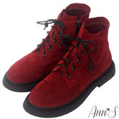Ann'S搖滾Rocker-層次綁帶分量感厚底短靴-酒紅