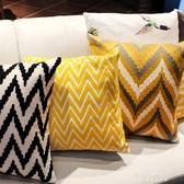 抱枕-北歐幾何刺繡花抱枕套樣板房棉麻靠墊簡約客廳沙發黃色飄窗 東川崎町 YYS