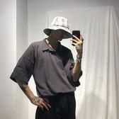 素面翻領T恤韓製夏季寬鬆polo衫睡衣領短袖男士潮【店慶八五折促銷】