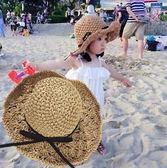 兒童草帽夏天女童沙灘帽遮陽帽可折疊防曬