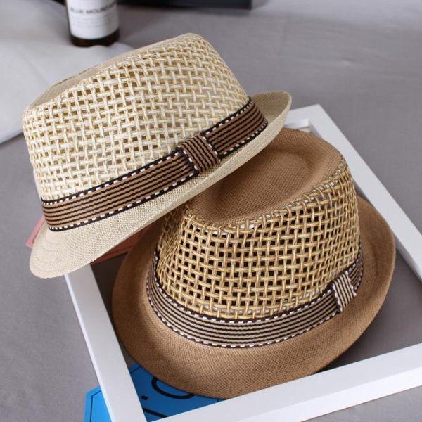 聖誕禮物造型帽兒童男孩夏季涼帽草帽男童禮帽兒童草編帽遮陽帽男寶寶潮帽造型帽子 嬡孕哺