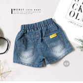 素面百搭後口袋黃色織標車線牛仔褲 短褲 丹寧褲 刷白 女童 哎北比童裝