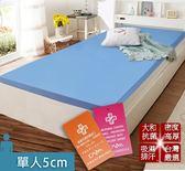 床墊 日本大和 抗菌 防蟎 透氣 5cm 床墊-單人-藍 KOTAS