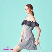 【SHOWCASE】名媛風細格紋單肩荷葉袖顯瘦腰身短版洋裝(黑)