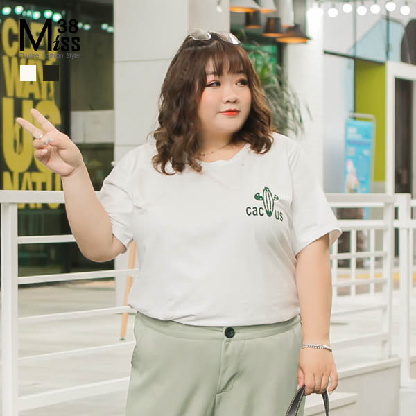 Miss38-(現貨)【A05451】大尺碼短袖上衣 背後字母印花 情侶裝 休閒寬鬆 純棉彈力短袖T恤-中大尺碼