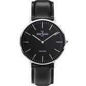 VALENTINO 范倫鐵諾 經典皮革手錶-40mm 71418M黑面鋼色黑帶