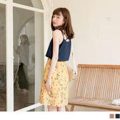 《DA5610》細肩帶交叉美背拼接綁帶滿版印花洋裝 OrangeBear