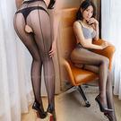 (加購)修長腿部曲線-性感背線絲襪褲襪15D(前後開檔)-黑線