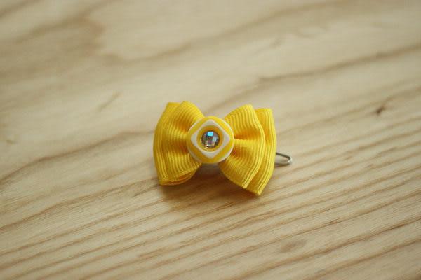 ★OBO CLUB HOUSE☆ 鈕扣晶鑽蝴蝶結頭飾-黃(扣夾)