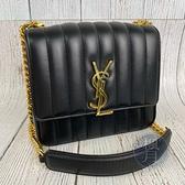 BRAND楓月 SAINT LAURENT YSL 532612 中款 VICKY 小羊皮 直線 绗缝 斜背包 鍊包