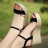 涼鞋女坡跟韓版高跟厚底鬆糕跟百搭大碼女鞋   魔法鞋櫃