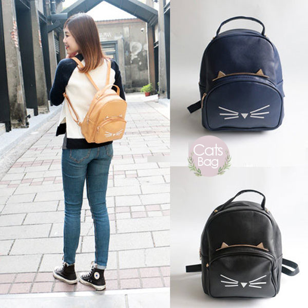 Catsbag|日系咪咪將立體貓咪皮革子母後背包|T9930221