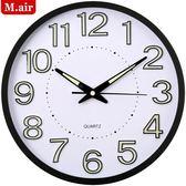 掛鐘 邁爾夜光掛鐘客廳靜音掛錶家用創意鐘錶時鐘臥室現代石英鐘掛鐘『夏茉生活』