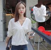 EASON SHOP(GU5221)兩種穿法韓版白色寬鬆V領蝴蝶結長袖白襯衫白色落肩露背女上班工作服OL