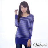 Victoria 條紋飛鼠袖長版TEE-寶藍-Y2502957