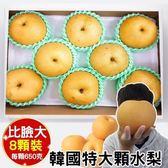 【WANG-全省免運】韓國特大3XL甜潤水梨禮盒X1盒(8顆/盒 每顆約650g±10%)