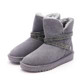 MICHELLE PARK 閃耀魅力防水2WAY 水鑽閃亮環帶雪靴灰色