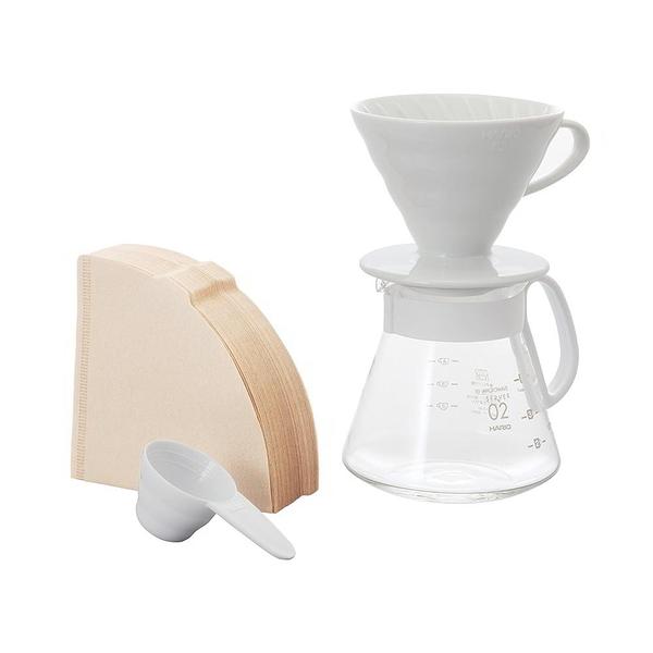 日本HARIO V60白色02濾杯咖啡壺組 1~4杯