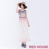 【RED HOUSE 蕾赫斯】花朵背心長洋裝(白色)-單一特價