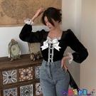 法式上衣 法式絲絨襯衫女設計感小眾2021秋冬新款韓版短款襯衣長袖時尚上衣 618狂歡
