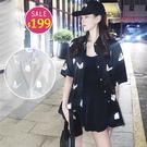 BOBO小中大尺碼【1647】寬版蝴蝶夏季短袖襯衫 共2色 現貨