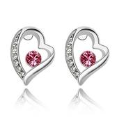 水晶耳環 925純銀(耳針式)-鑲鑽愛心生日母親節禮物女飾品5色73bd18【時尚巴黎】