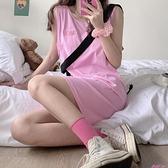 無袖T恤春夏粉色辣妹t恤女無袖寬鬆中長款運動吊帶背心裙設計感小眾外穿 JUST M