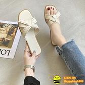 女外穿韓版平底度假露趾涼鞋【happybee】