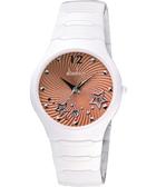 Diadem 黛亞登 甜蜜星空時尚白陶瓷腕錶-橘(9D1407-541SD-O)
