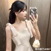夏季新款重工蝴蝶結亮鑚禮服裙子氣質收腰顯瘦A字洋裝女裝 青木鋪子