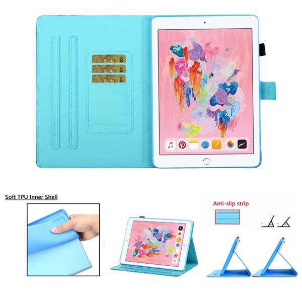 蘋果 iPad 9.7 2017 iPad 9.7 2018 Pro 9.7 Air2 動物彩繪平板套 平板皮套 插卡 支架 平板保護套