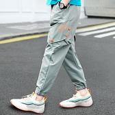 男童長褲 男童防蚊褲2021新款薄款兒童夏裝寬鬆褲子男孩工裝長褲夏季九分褲