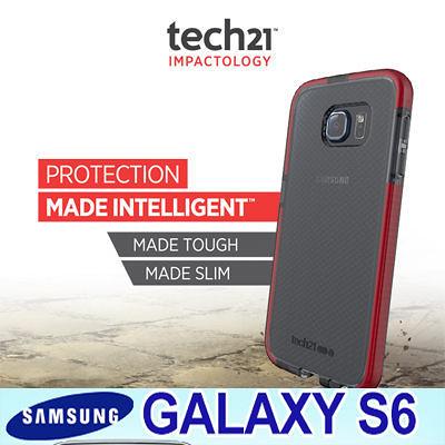 TECH21 英國超衝擊 Samsung Galaxy S6 防撞軟質格紋保護殼 透黑紅 EVO CHECK