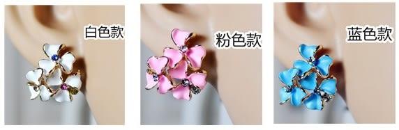 [協貿國際]  清新百搭三朵三瓣花鑲鑽耳釘耳環 (3個價)