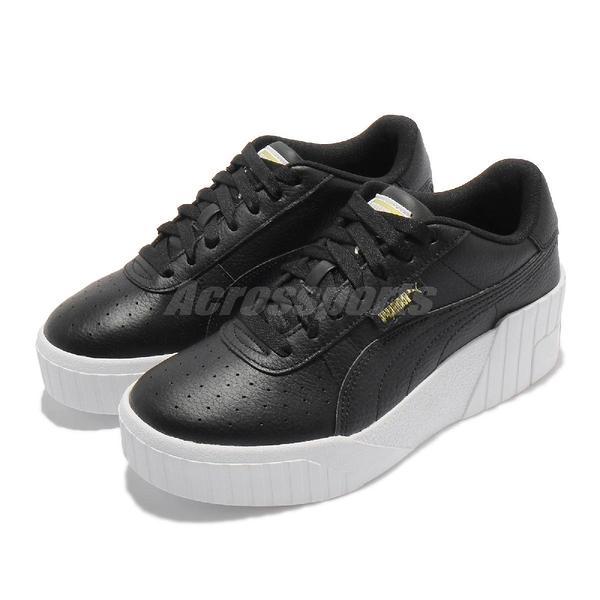 Puma 休閒鞋 Cali Wedge Wns 黑 白 金標 厚底 增高 女鞋 皮革鞋面 【ACS】 37343802