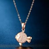 項鍊 玫瑰金純銀鑲鑽吊墜-小魚造型生日情人節禮物女飾品73hj7[時尚巴黎]